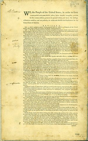 Abraham Baldwin - Image: Abraham Baldwin's draft copy of the US Constitution