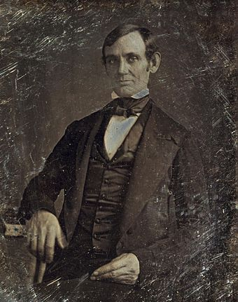 Lincoln in his late 30s as a member of the U.S. House of Representatives. Photo taken by one of Lincoln's law students around 1846. Abraham Lincoln by Nicholas Shepherd, 1846-crop.jpg