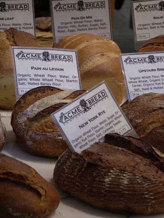 History of California bread - Acme bread loaves on display at Ferry Building retail shop in San Francisco