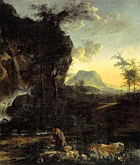 Landscape with waterfall and shepherd