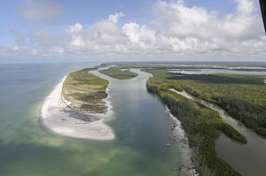 Rookery Bay National Estuarine Research Reserve - Aerial view of an island in Rookery Bay