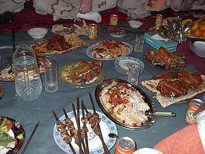 Pashtun cuisine - Image: Afghani dinner