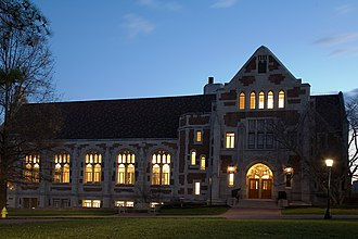 Agnes Scott College - McCain Library at dusk