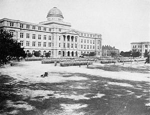 History of Texas A&M University - Main building and Cadet Corps of Agricultural and Mechanical College, 1916