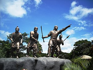 Ahom people - Statue of Ahom warriors near Sivasagar town, Assam
