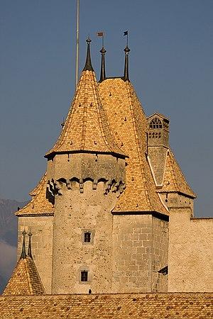 Aigle Castle - Large, square tower of the castle