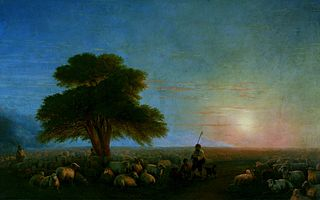 Shepherds with a flock of sheep.
