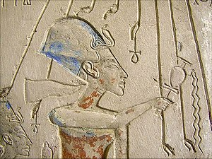 Panehesy -  Detail of the stone shrine from the house of Panehesy adjacent to the Aten Temple