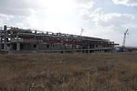 Akhalkalaki international train station along Tbilisi-Kars railway under construction.JPG