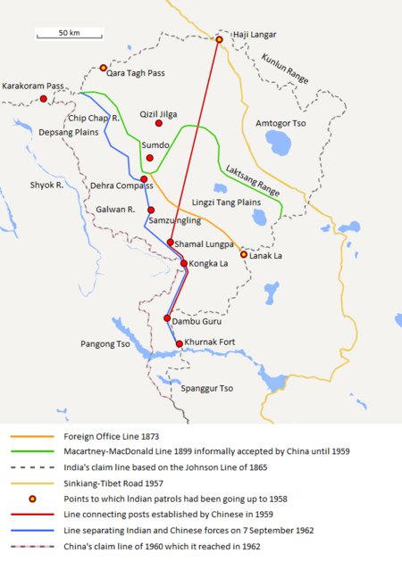 The map shows the Indian and Chinese claims of the border in the Aksai Chin region, the Macartney–MacDonald line, the Foreign Office Line, as well as the progress of Chinese forces as they occupied areas during the Sino-Indian War.