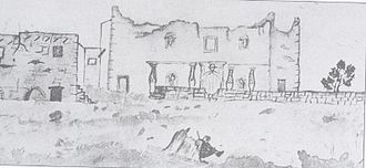 Alamo Mission in San Antonio - This is one of the first drawings depicting Mission San Antonio de Valero.  It was created in 1838 by Mary Maverick and clearly shows statues within the niches.