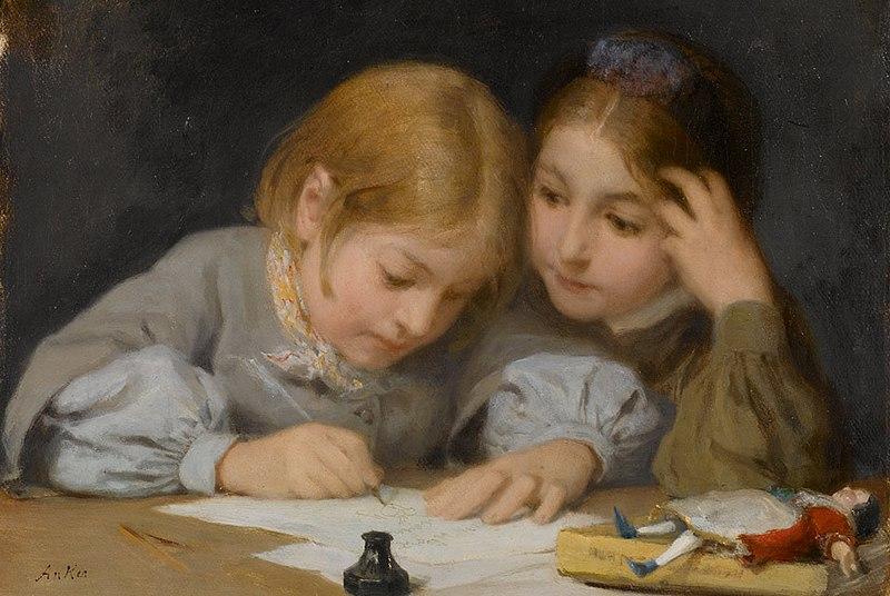 File:Albert Anker (1831-1910), Schreibunterricht, 1865. Oil on canvas.jpg
