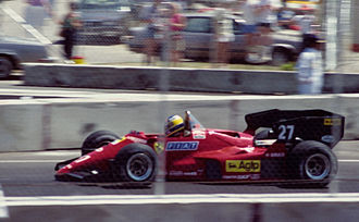 Michele Alboreto - Alboreto at the 1984 Dallas Grand Prix. The Ferrari driver retired from the race after spinning off the track with 13 laps remaining.