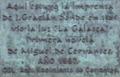 Alcalá de Henares (RPS 11-12-2007) Imprenta de Juan Gracián. La Galatea de Miguel de Cervantes.png