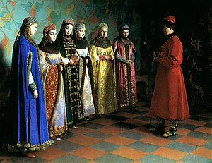 Tsarina - Tsar Alexis of Russia choosing his bride in 1648. Painting by Grigory Sedov, 19th century
