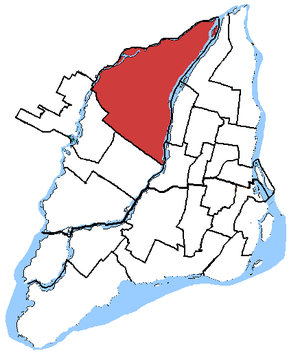 Alfred-Pellan - Alfred-Pellan in relation to other Montreal federal electoral districts