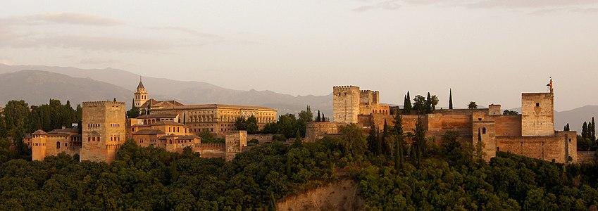 Alhambra of Granada, evening.