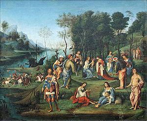Allegory of Isabella d'Este's Coronation - Image: Allégorie de la cour d'Isabelle d'Este, Costa (Louvre INV 255) 01