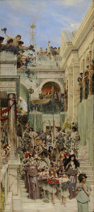 Cerealia - Spring (1894) by Lawrence Alma-Tadema, depicting the Cerealia in a Roman street (J. Paul Getty Museum)