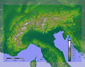 Geography of the Alps - DEM-based shaded relief/hypsometric image of the Alps with the borders of the countries.