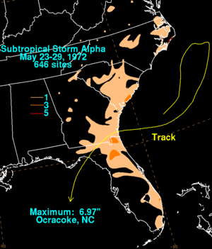 Subtropical Storm Alpha (1972) - Rainfall from the subtropical storm in the Southeastern United States