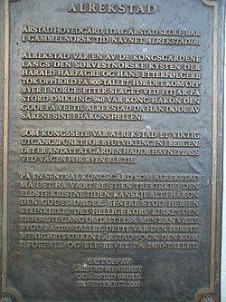 Alrekstad plaque