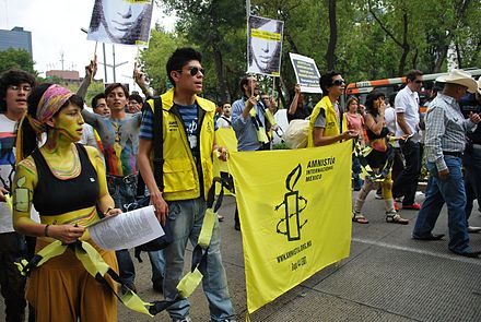 Amnesty International at the 2009 Marcha Gay in Mexico City, 20 June 2009 AmInt2009MarchaGayDF.JPG