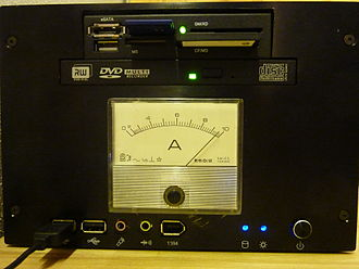 Ammeter - An older moving iron ammeter with its characteristic non-linear scale and with the moving iron ammeter symbol mounted on a small form factor PC.