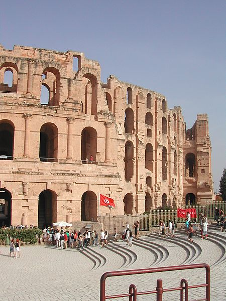 File:Amphitheater El Djem, Typhrus, Tunesia, from the outside2 13 Sept 2004.jpg