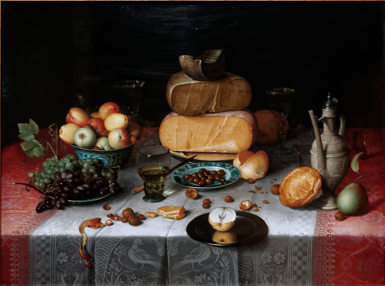 Le disavventure di messer Rinaldo da Ferrara. Novella tratta dal Decameron. 1280px-Amsterdam_-_Rijksmuseum_1885_-_The_Gallery_of_Honour_%281st_Floor%29_-_Still_Life_with_Fruit%2C_Nuts_and_Cheese_1613_by_Floris_van_Dijck