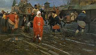 Seventeenth-Century Moscow Street on a Public Holiday