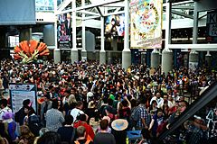 Attendees Gather At The Los Angeles Convention Centers South Hall During Anime Expo 2016
