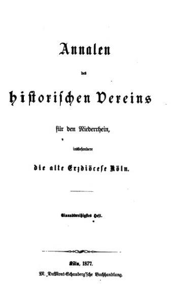 File:Annalen des Historischen Vereins für den Niederrhein 31 (1877).djvu