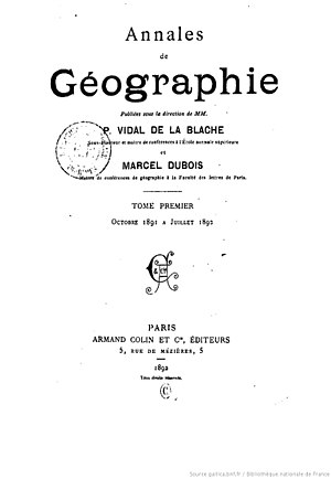Annales de Géographie - Cover of the first issue