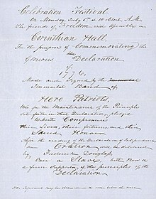 A handwritten announcement of the date and time of the speech