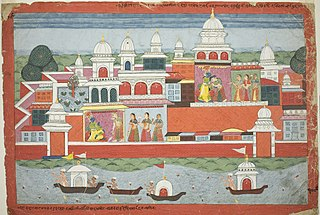 Rukmini Seeks Krishna's Permission to Visit her Brother Rukma, page from a manuscript of the Bhagavata Purana