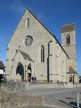 Stadtpfarrkirche Rapperswil - church portal as seen from towards the castle