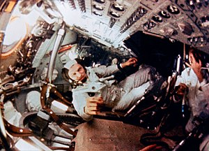 Frank Borman - In-flight footage of Frank Borman (center) during the Apollo 8 mission