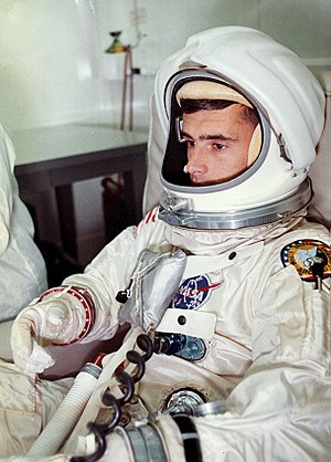 Gemini space suit - Roger B. Chaffee wears the Apollo Block I pressure suit