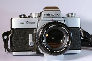 Rokkor - Minolta SR-T 303 camera with MC Rokkor-PG 50 mm 1:1.4 lens.