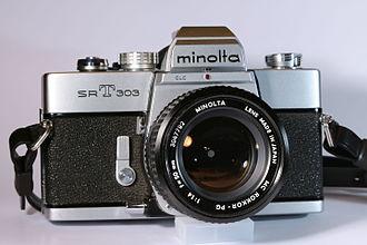 Minolta SR-mount - Minolta SR-T 303 camera with MC Rokkor-PG 50 mm 1:1.4 lens.