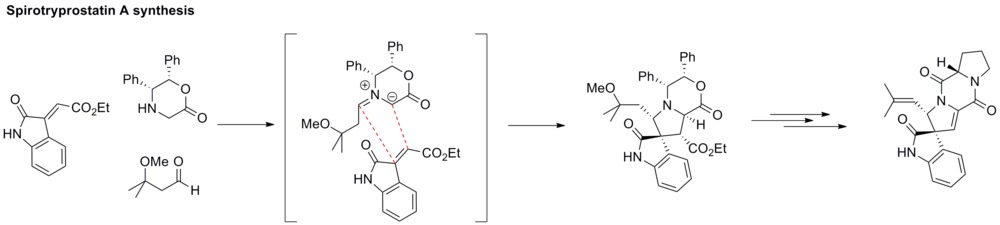 Step of spirotryprostatin synthesis using azomethine ylide.