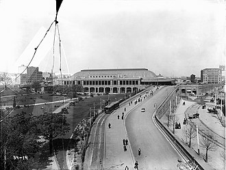 Trams in Sydney - The approach to Central station, about 1912.