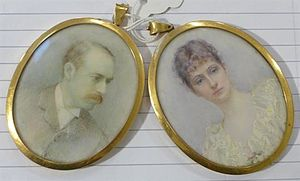 Annie R. Merrylees Arnold - Annie R. Merrylees's pair of oils on ivory of Archibald and Alice Cameron Corbett