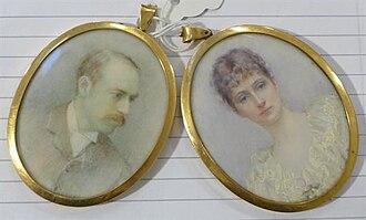 Archibald Corbett, 1st Baron Rowallan - Annie R. Merrylees's pair of oils on ivory of Archibald and Alice Archibald Cameron Corbett