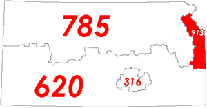 Map of Kansas with area code 913 in Red