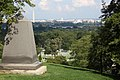 Arlington House - Grave of Phil Sheridan looking east at cemetery and DC - 2011.jpg