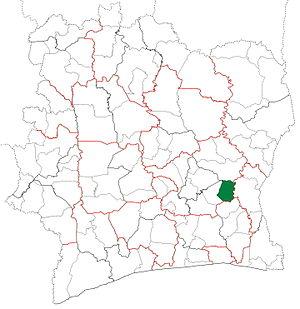 Arrah Department - Image: Arrah Department locator map Côte d'Ivoire