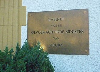 Minister Plenipotentiary of Aruba - Plate on the Arubahuis in The Hague in the Netherlands in 2011