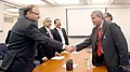 Arun Jaitley shaking hands with the Minister of State for Finance and Planning, Bangladesh, Mr. Muhammad Abdul Mannan, on the sideline of the 2016 Spring Summit of World Bank and International Monetary Fund, in Washington DC.jpg
